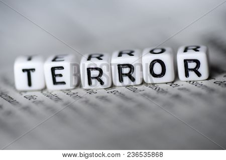 Word Terror Formed By Wood Alphabet Blocks On Newspaper Closeup