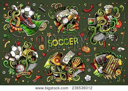Colorful Vector Hand Drawn Doodles Cartoon Set Of Football Combinations Of Objects And Elements. All