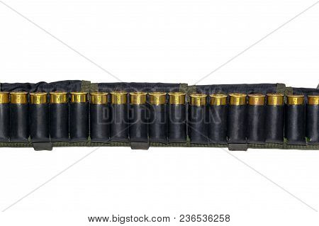 Cartridge Belt With A Leather Belt For Hunting And Sporting Cartridges For A Smooth-bore Shotgun