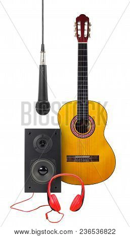 Music And Sound - Front View Classic Acoustic Guitar, Microphone, Line Array Loudspeaker Enclosure C