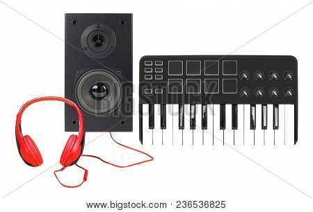 Music And Sound - Front View Line Array Loudspeaker Enclosure Cabinet, Midi Keyboard And Red Headpho