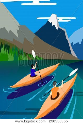 Kayakers Float On The Lake, Mountains Background, Nature, Peace And Serenity. Vector Illustration Po