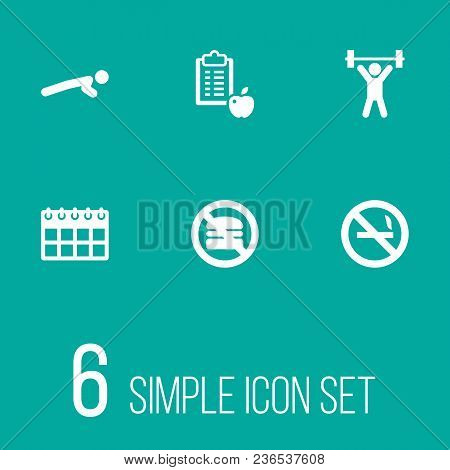 Set Of 6 Bodybuilding Icons Set. Collection Of No Smoking, Push Ups, Fitness And Other Elements.