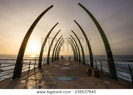 Durban, South Africa, April 9 - 2018: Pier Structure In The Morning Light With View Out To Sea. The