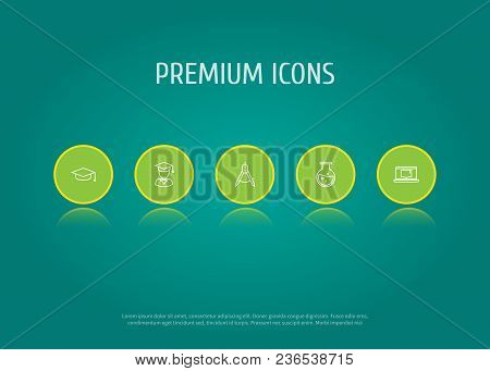 Set Of 5 Studies Icons Line Style Set. Collection Of Flask, Academic Hat, Diplomaed Male And Other E