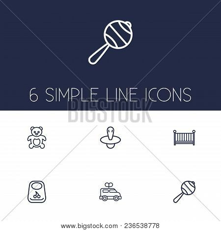 Set Of 6 Kid Icons Line Style Set. Collection Of Cot, Breastplate, Bus And Other Elements.