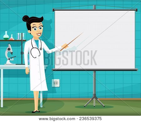 Woman Doctor Showing On The White Board. Medical Staff At The Workplace. Stock Vector Illustration.