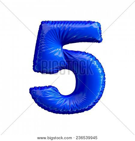 Number 5 (five) of blue balloons on a white background. 3d rendering