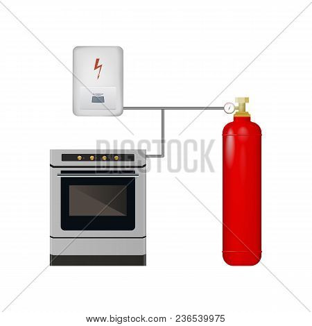 Gas Stove And Boiler With Cylinder. The Barrel Is Filled With Natural Gas. Home Equipment Vector Ill