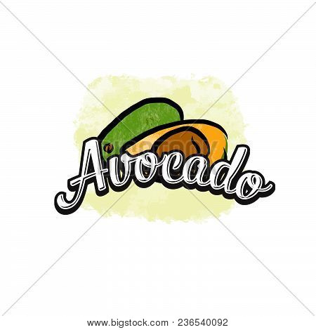 Avocado Colorful Label Sign. Vector Drawing For Advertising. Fresh Design Of Colorful Fruits Made In