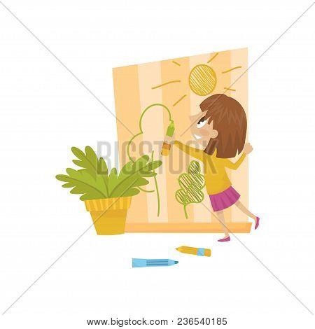 Cute Little Girl Drawing On The Wall, Hoodlum Cheerful Kid, Bad Child Behavior Vector Illustration I