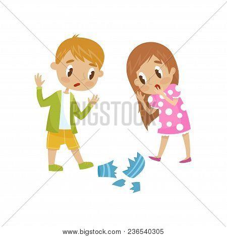Cute Little Girl And Boy Broken A Vase, Hoodlum Cheerful Kid, Bad Child Behavior Vector Illustration