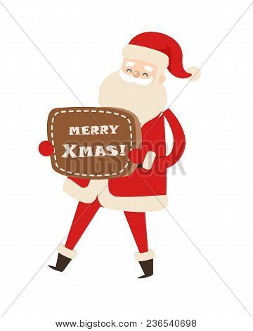 Smiling Santa Claus With Brown Table Merry Xmas. Vector Illustration Of Activities Of Old Man In Red