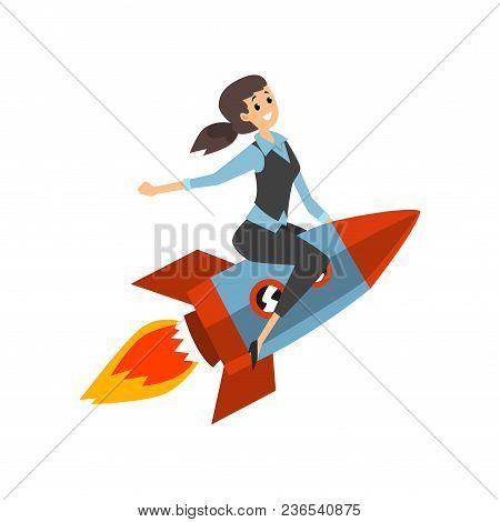 Successful Businesswoman On A Rocket, Start Up Business Project, Development Process Vector Illustra