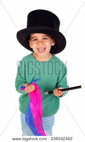 Funny small magician  with a top hat and a magic wand isolated on a white background