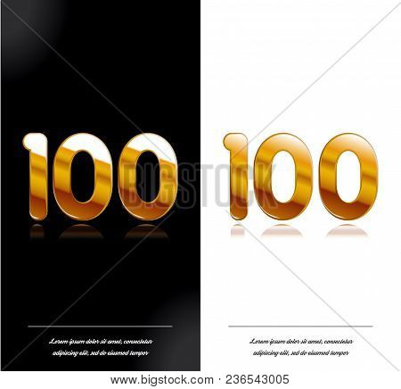 100 - Year Anniversary Black And White Cards Tamplate. Vector Illustration.