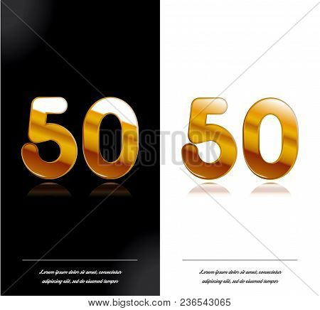 50 - Year Anniversary Black And White Cards Tamplate. Vector Illustration.