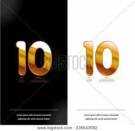 10 - Year Anniversary Black And White Cards Tamplate. Vector Illustration.