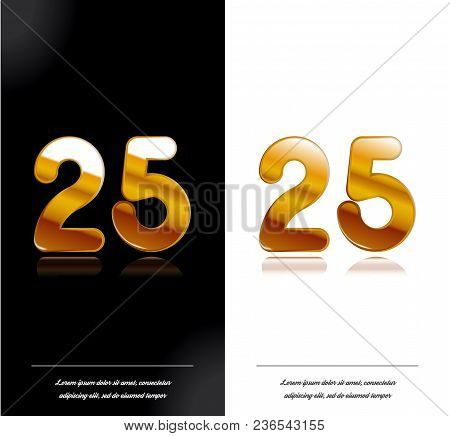 25 - Year Anniversary Black And White Cards Tamplate. Vector Illustration.