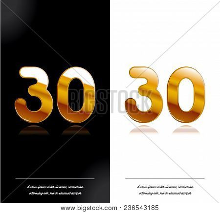 30 - Year Anniversary Black And White Cards Tamplate. Vector Illustration.