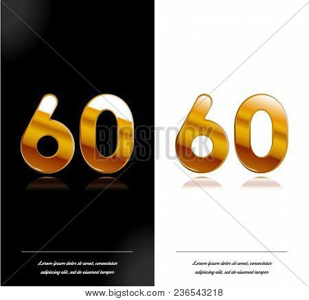60 - Year Anniversary Black And White Cards Tamplate. Vector Illustration.
