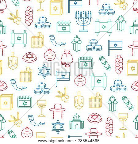 Symbol Of Israel Thin Line Seamless Pattern Background Travel Religion. Vector Illustration Of Jewis