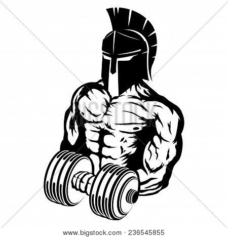 Spartan With Dumbbell In Hand On White Background.