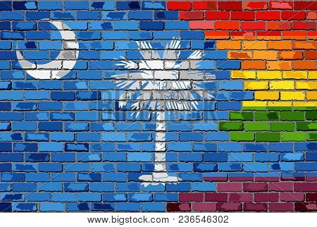 Brick Wall South Carolina And Gay Flags - Illustration, Rainbow Flag On Brick Textured Background,