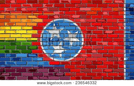 Brick Wall Tennessee And Gay Flags - Illustration, Rainbow Flag On Brick Textured Background,  Abstr