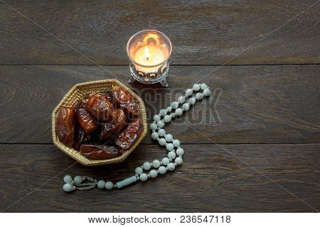 Table Top View Decoration & Food Ramadan Kareem Festival Background Concept.flat Lay Of Date Fruit &