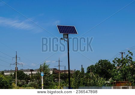 Solar Panel On Top Of  The Pillar