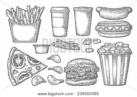 Set Fast Food. Cup Cola, Coffee, Chips, Hamburger, Pizza, Hotdog, Fry Potato In Paper Box, Carton Bu