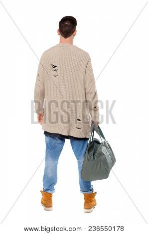 Back view of a man with a green bag.  backside view of person.  Rear view people collection. Isolated over white background. Young traveler with a big bag