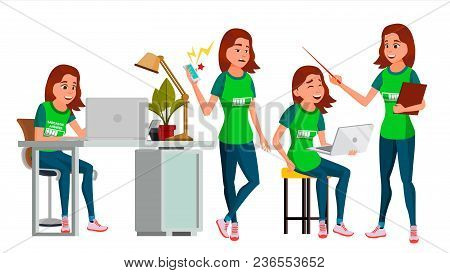 Business Woman Character Vector. Young Female In Different Poses. Teen Clerk In Office Clothes. Desi