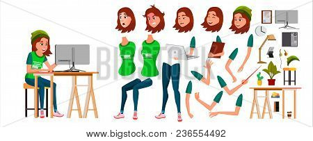 Young Business Woman Character Vector. Working Teen Female Girl. Clerk Working At Office Desk. Anima
