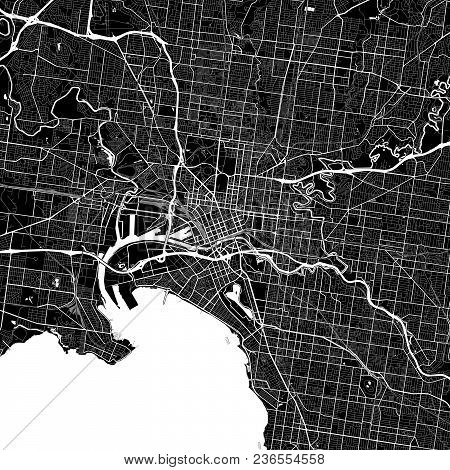 Area Map Of Melbourne, Australia. Dark Background Version For Infographic And Marketing Projects. Th