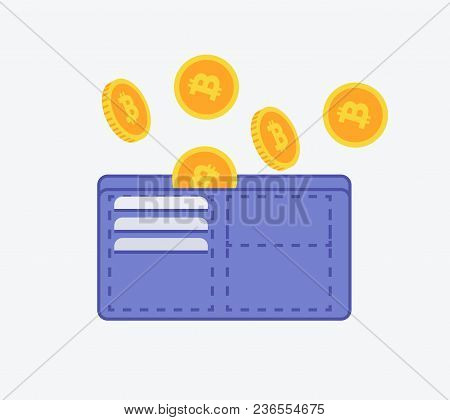 Bitcoin Wallet Icon Sign With Etherium Coins Falling In Wallet Flat Design