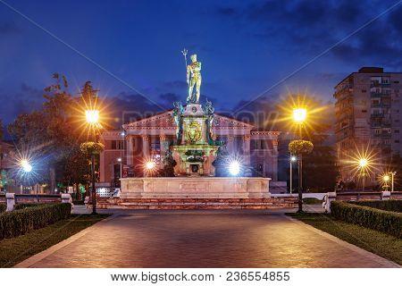Neptune Monument And Ilya Chavchavadze State Drama Theatre During Blue Hour In Batumi, Adjara, Georg