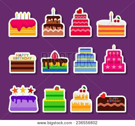 Wedding Or Birthday Vector Pie Cakes Stickers Icons Set. Cake Sweets Dessert Bakery In Flat Style. D