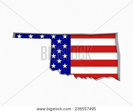 Oklahoma OK USA Flag Stars Stripes Map 3d Illustration