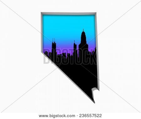 Nevada NV Skyline City Metropolitan Area Nightlife 3d Illustration
