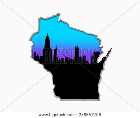 Wisconsin WI Skyline City Metropolitan Area Nightlife 3d Illustration