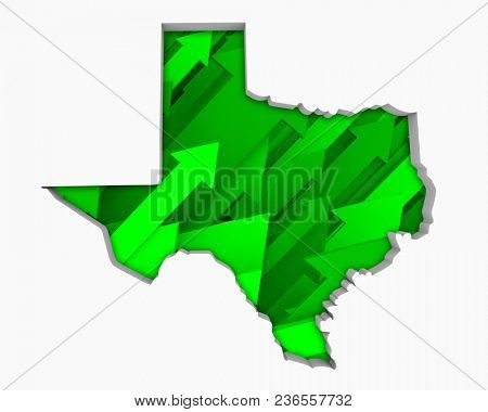 Texas TX Arrows Map Growth Increase On Rise 3d Illustration