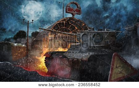The Tank At The Entrance To The Metro During The Post-apocalypse