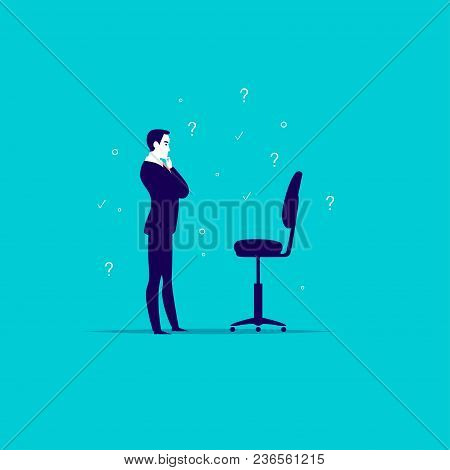 Vector Flat Business Illustration With Office Man Standing At Blank Chair Isolated On Blue Backgroun