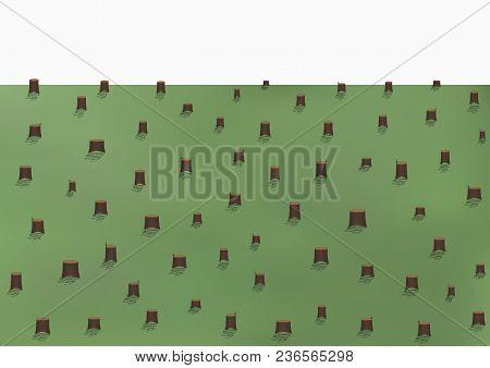 Deforestation Landscape, A Lot Of Stumps, Vector Illustration Horizontal