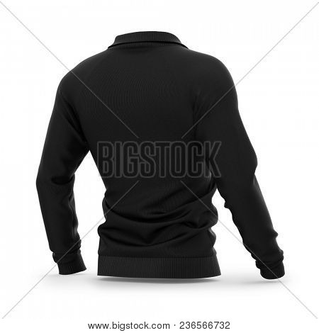 Men's zip neck pullover with raglan sleeves, rubber cuffs and collar. 3d rendering. Clipping paths included: whole object, collar, sleeve, zipper. Half-back view. poster