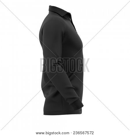 Men's polo shirt with long sleeves. Side view. 3d rendering. Clipping paths included: whole object, collar, sleeve, buttons. Isolated on white background.