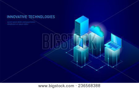 Isometric Security Cloud Storage Business Concept. Blue Glowing Isometric Personal Information Data