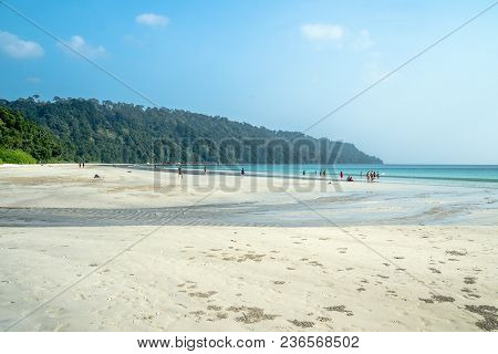 Indian Tourists A Large Crowd Resting On The Most Beautiful Beach In Asia Called Radhanagar Beach, H